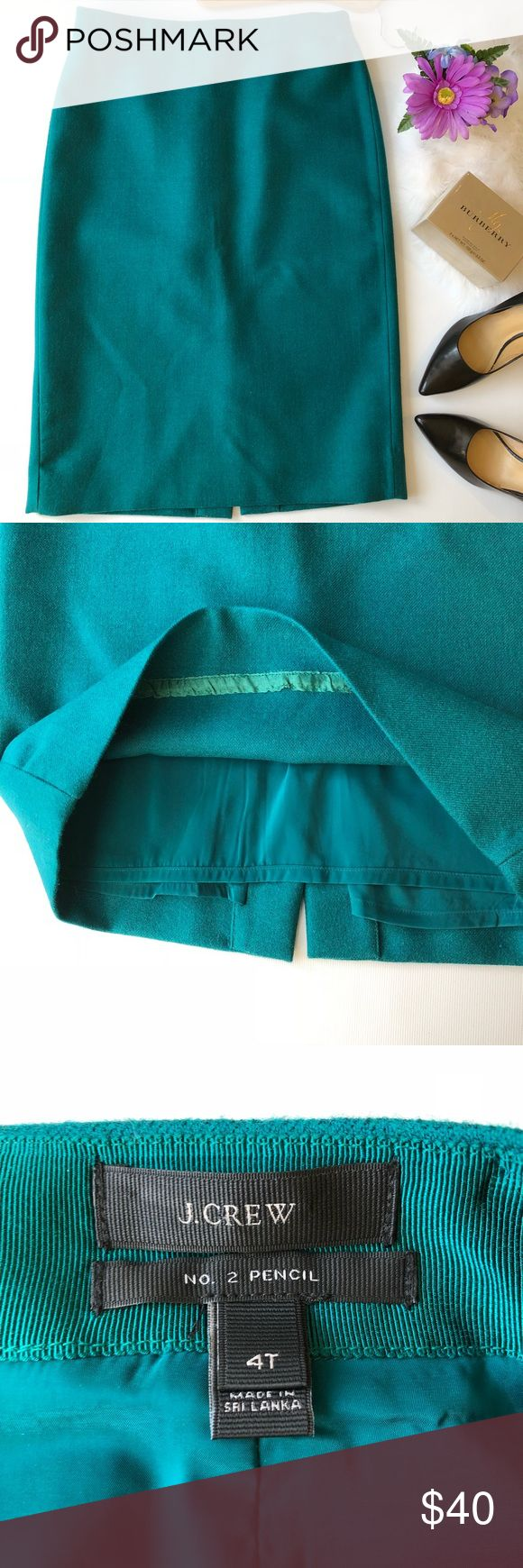 """J. CREW No. 2 Pencil Skirt Emerald Green sz 4T J. Crew No 2 Pencil Skirt In Double Serge Wool. Emerald green. Size 4T. In like new conditions. Please see pictures for fabric information. Back zipper. Fully lined. ALL MEASUREMENTS ARE APPROXIMATELY AND LAYING FLAT: 🔸LENGTH: 25"""" 🔸WAIST: 15"""" 🔸HIPS: 18"""" FEEL FREE TO ASK QUESTIONS  I DO NOT TRADE. J. Crew Skirts Pencil"""