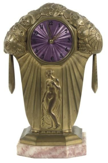 Art Deco Clock~France, 1925~ Purple enamel dial~Christie's http://www.christies.com/lotfinder/clocks/a-french-gilt-bronze-art-deco-striking-mantel-5234572-details.aspx?from=searchresults=5234572=23dcb0f9-bde8-4f5b-8775-ce5535f6966b