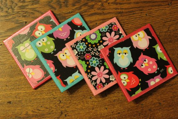 Owl & Flower Ceramic Tile Coasters  Pinks and Blues by CrafTeaCafe, $12.00