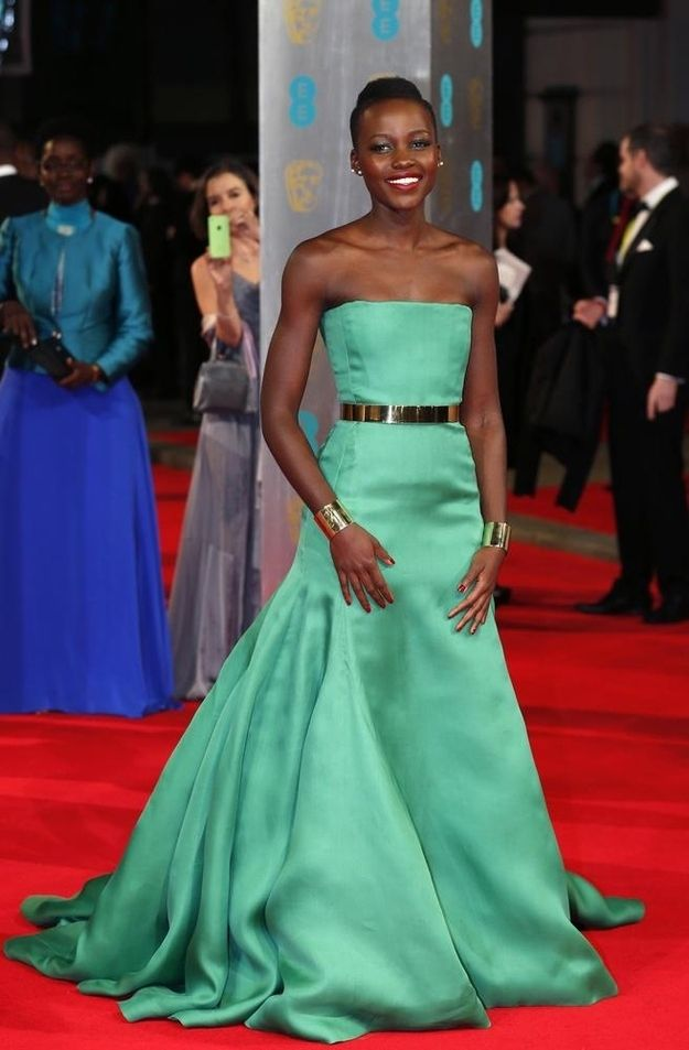 The time she wore a kelly green Dior gown to the BAFTAs and looked radiant. | 22 Times Lupita Nyong'o Proved She's A Flawless Fashion Genius