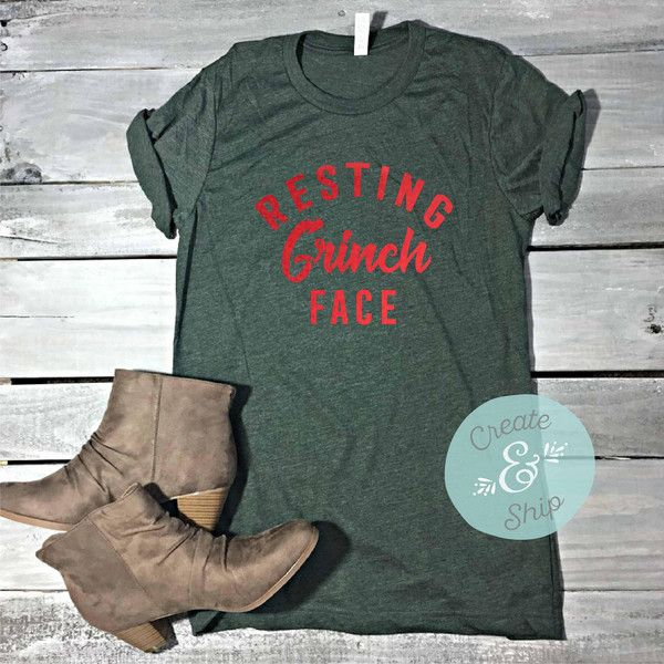 Resting Grinch Face Christmas Unisex Shirt Funny Christmas Shirt... ($22) ❤ liked on Polyvore featuring tops, t-shirts, maroon, women's clothing, america t shirts, tee-shirt, christmas tee, relax t shirt and fitted t shirts