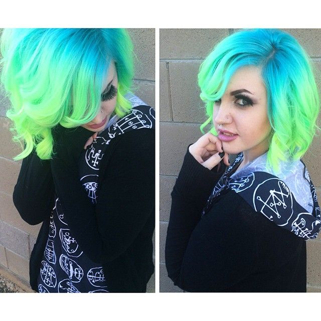 Blue neon ombre hair, is it time for all over color?