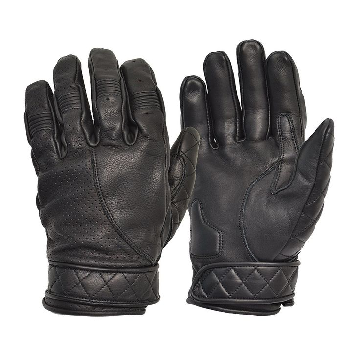 Short Classic Black Bobber Leather Motorcycle Gloves by Goldtop - Fleece Lined Cruiser and Harley Style Summer Gloves