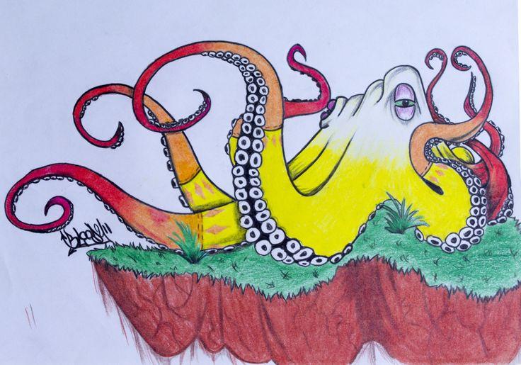 Pulpo!! Ilustración hecha a lapices de color, 25x35cm