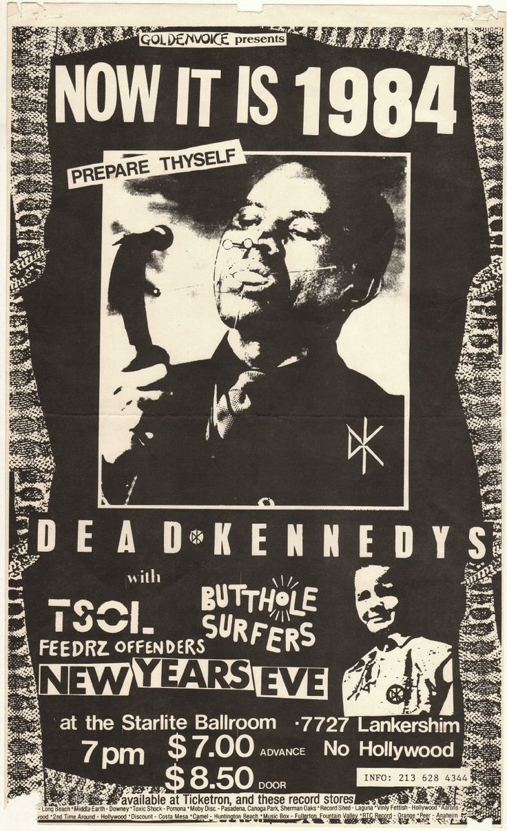 best images about music posters and flyers do find best value and selection for your now it is 1984 prepare thyself dead kennedys tsol butthole surfers search on world s leading marketplace