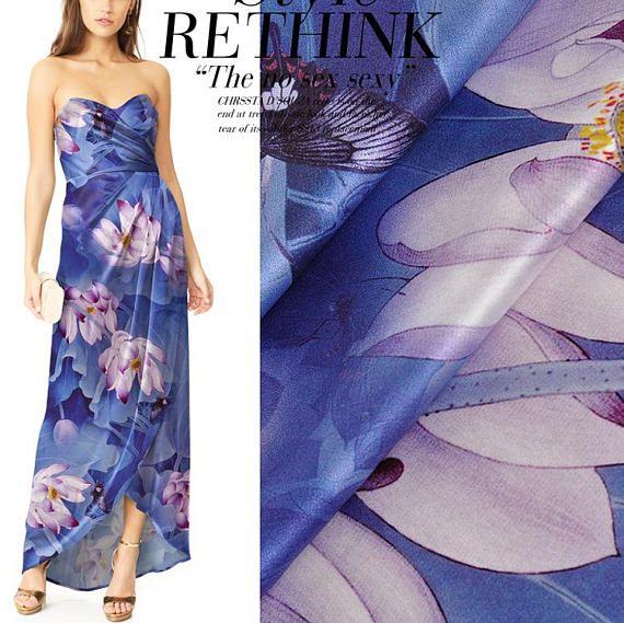 Lotus Flower Floral Print Blue Stretch Silk Satin Fabric Width
