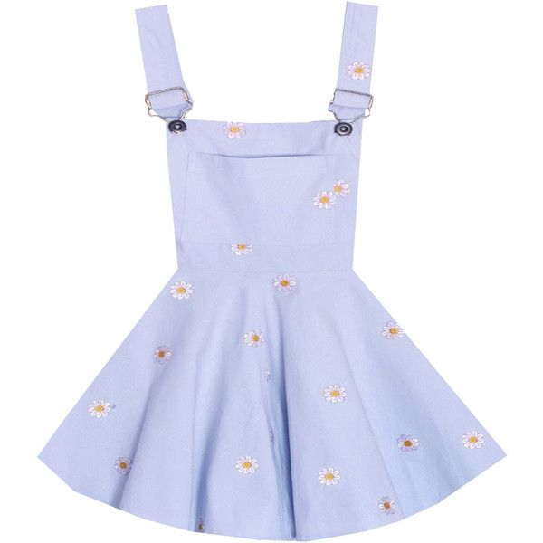 Bonne Chance Collections Clear Skies Daisy Overalls Dress ($35) ❤ liked on Polyvore featuring dresses, bonne chance, daisy dresses, daisy-print dresses and clear dress