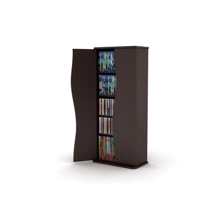 Media Storage Cabinet Tower Shelf Rack Games DVD Bluray Organizer Holder Stand  #Modern