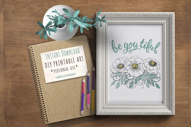 Floral Digital Art, Hand-lettered BEYOUTIFUL Print.  DIY Gift, Instant Download, Wall Decor.  Great gift for a friend, inspirational message!   #printable #DIY #handlettering