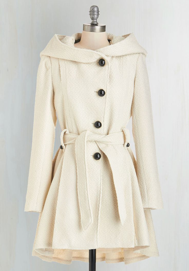 Once Upon a Thyme Coat in Almond by Steve Madden - Better, White, Cream, Solid, Buttons, Pockets, Belted, Long Sleeve, Fall, Winter, Variation, Party, Work, Casual, 60s, 70s, Rustic, Woven, 3, Long, Tis the Season Sale