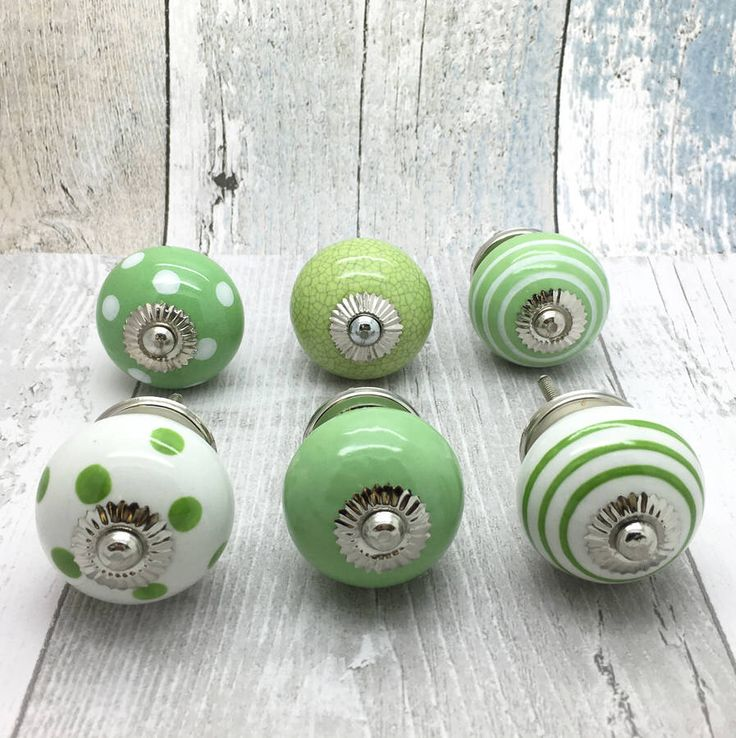I've just found Light Green Ceramic Door Knobs Cupboard Drawer Handles. Light Green crackle, plain, striped and polka dot ceramic dooor knobs cupboard handles are suitable for chest-of-drawers, bedroom furniture, cupboards, dresser, kitchen furniture and cabinets. £3.99