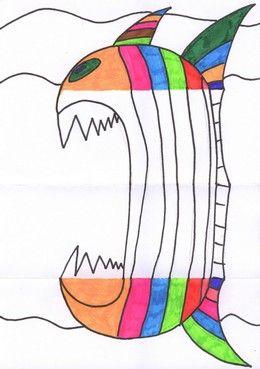 ETAPE 7: Ouvre la feuille. Dessine le méchant poisson au crayon puis repasse au feutre