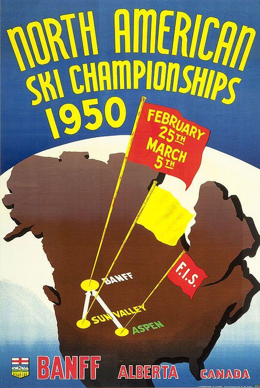 Vintage Ski Poster - North American Ski Championships - 1949 Artist- Krol