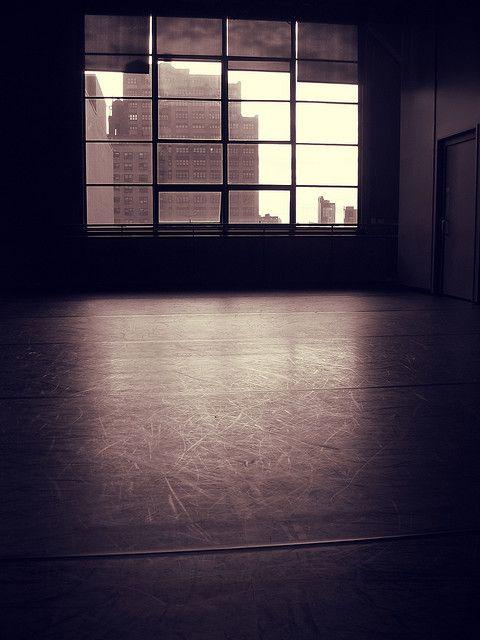 An empty ballet studio