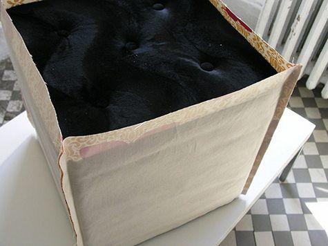 Diy Ottoman Slip Cover She S Crafty She Don T Mess