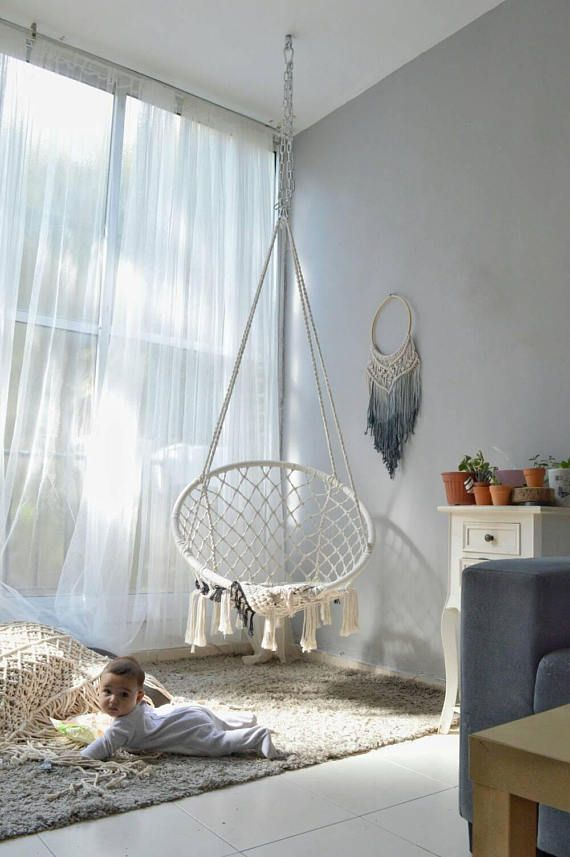 Macrame Hammock Swing Bedroom Ideas In 2019 Swinging Chair Indoor Hammock Chair Room Swing
