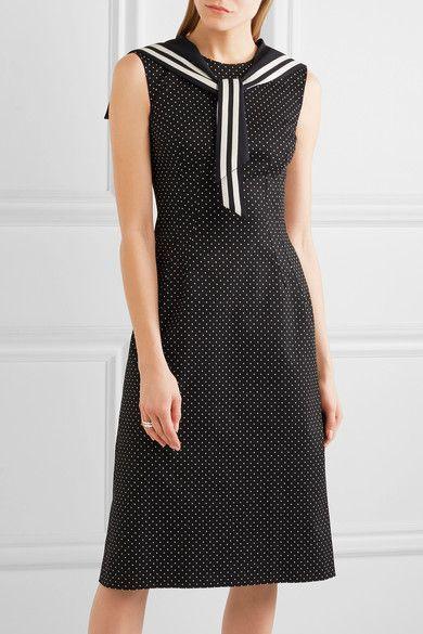 Dolce & Gabbana - Crystal-embellished Polka-dot Cotton-blend Twill Dress - Black - IT46