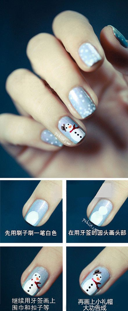 How to paint snowman nail art manicure step by step DIY tutorial instructions | How To Instructions