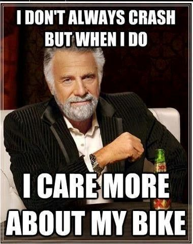 Totally true for my road bike. Less true for the mountain ride.