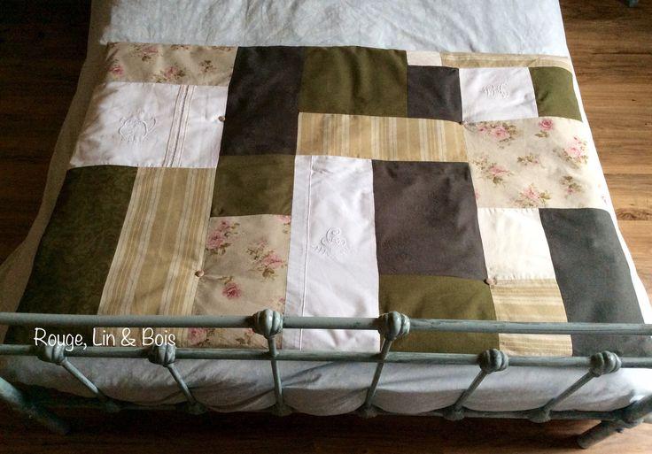 Édredon couette bout de lit patchwork shabby en coton fleuri toile à matelas coton damassé gris coton kaki : Textiles et tapis par rouge-lin-et-bois