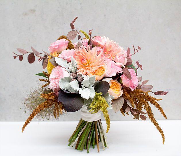 Copper, peach and pink bridal bouquet   Naomi Rose Floral Design