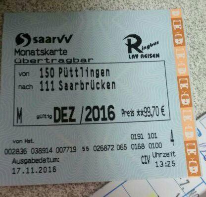 #Verkaufe zwei SaarVV Monatskarten #fuer Bus und Saarbahn von P... #Verkaufe zwei SaarVV Monatskarten #fuer Bus und Saarbahn von #Puettlingen nach #Saarbruecken gueltig #Dezember 2016 Original Preis #pro Karte 99.70 Euro. Preis #pro Karte 80 Euro VB.  Link zum Flohmarkt:  #Verkaufe zwei SaarVV Monatskarten #fuer Bus und Saarbahn von P...   Kleinanzeigen #Saarbruecken / #Saarland http://saar.city/?p=33292