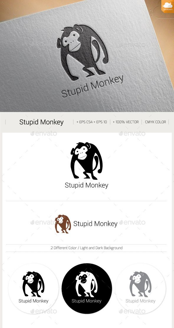 Stupid Monkey — Vector EPS #animal #why • Available here → https://graphicriver.net/item/stupid-monkey/13316786?ref=pxcr