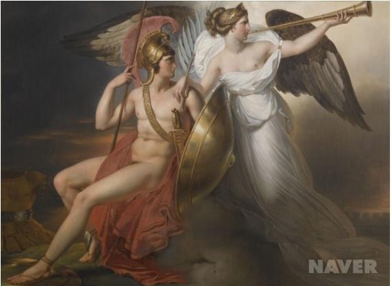 위의 그림은 승리를 축하하는 그림입니다. 하지만 천사의 날개가 하얀색이 아니라 검은색으로 표현되고 있습니다. 이는 전쟁의 결과가 승리든 아니면 패배든 죽음을 불러일으키는 비극이라는 것을 강조한다고 생각합니다.