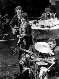 """Levon Helms on drums.    The Band at its farewell concert, """"The Last Waltz,"""" at the Winterland Auditorium in San Francisco in November 1976."""