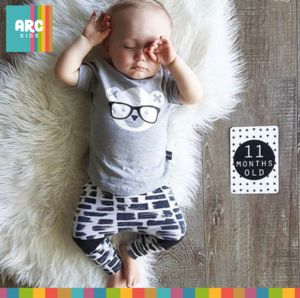 Shop now! Autumn Collection 2017 - Bear with Glasses two piece romper
