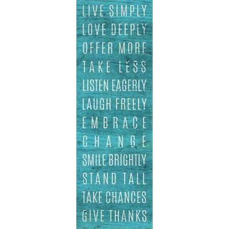 Live Simply Teal Canvas Art - SD Graphics Studio (12X36)