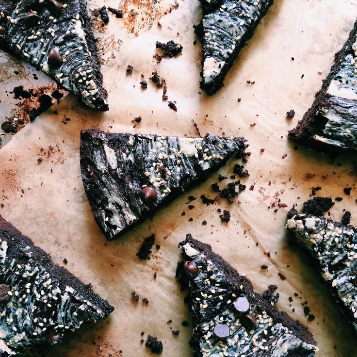 tahini brownies with black + tan sesame sprinkles | Recipe via…