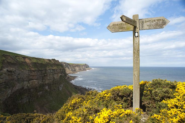 Free Stock Photo: Old wooden signpost on the cliff top overlooking the ocean on Cleveland Way, a footpath running along the North Yorkshire coastline - By freeimageslive contributor: photoeverywhere