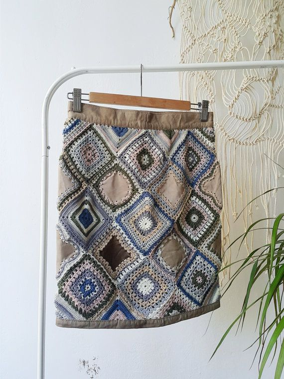 hand knitted embroidered ladies skirt Boho chic by WallKnot