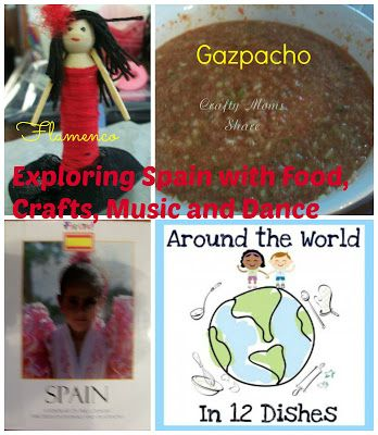Making Gazpacho with Kids Plus Music, flamenco dancing and a flamenco dancer craft to Learn About Spain from Crafty Moms Share