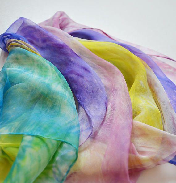 Rainbow Silk scarf Hand painted silk scarf colorful shibory