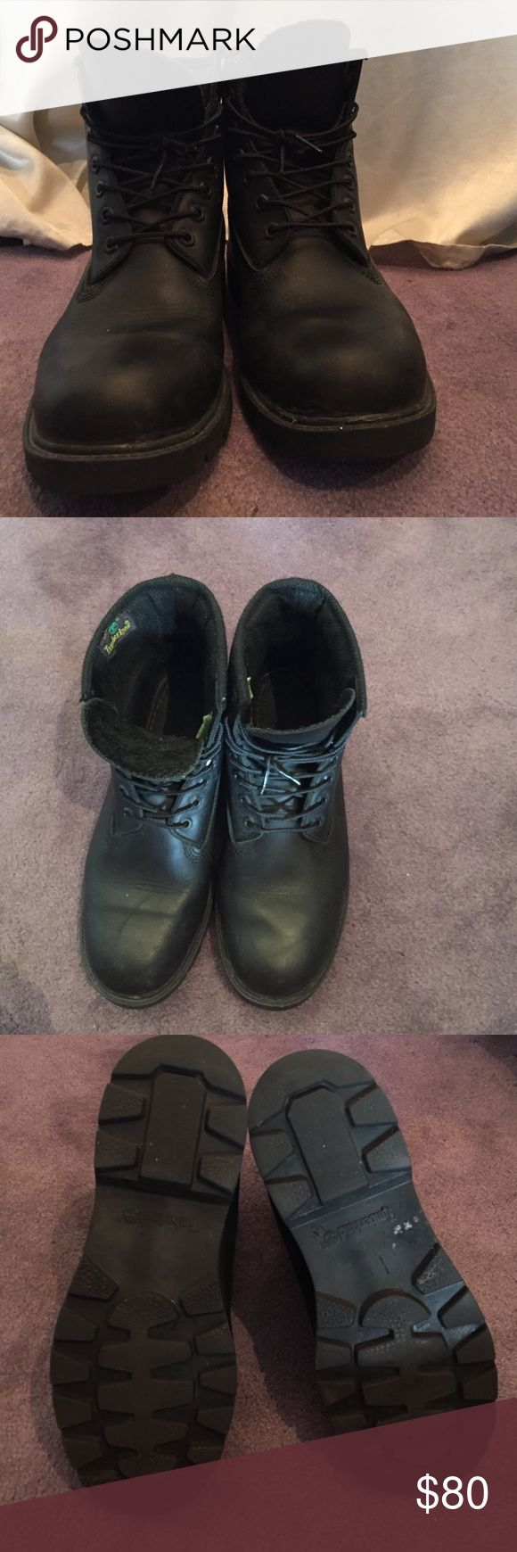 Black Timberland boots Black timberland boots. Worn a good amount of times but still in great condition. No stains or signs of damage. Timberland Shoes Boots