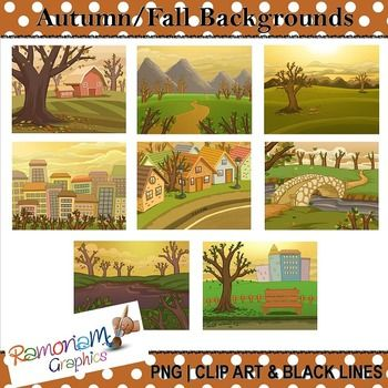 This set contains 8 Autumn themed digital backgrounds/scenery. Each image is in color as well as black and white. JPEG format and 300dpi. Great for scrapbooking, educational resources, photography, cards, printables - whatever you like!