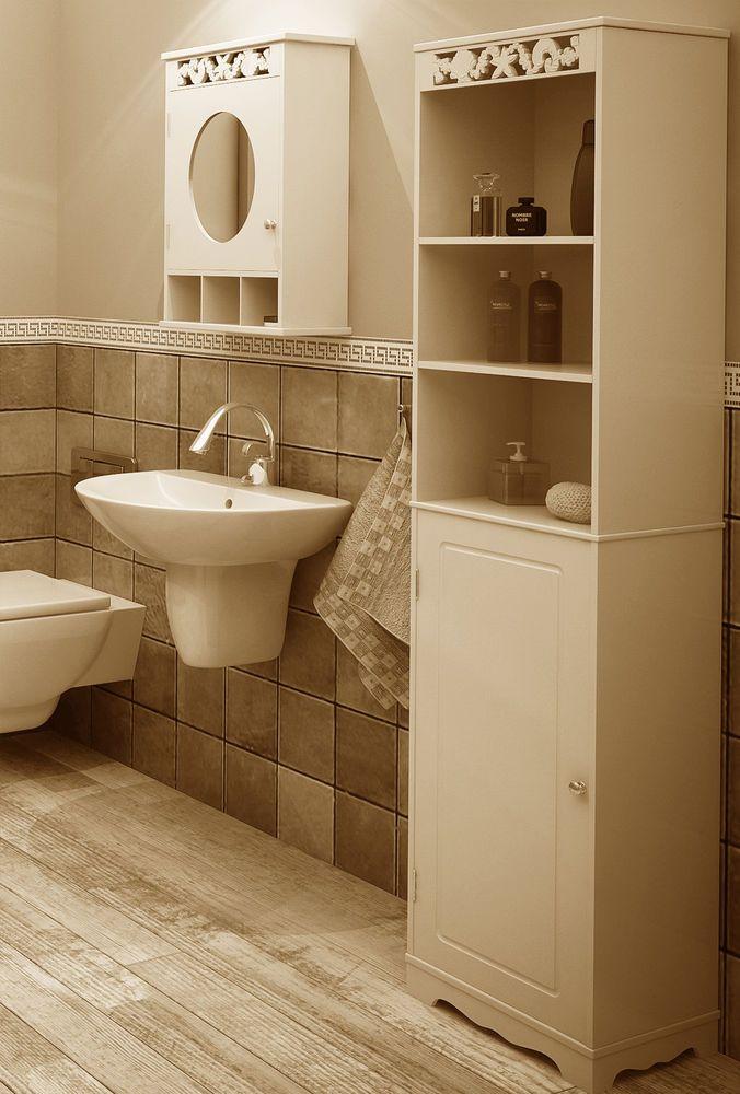 NEW Bathroom Furniture Mirror Cabinet Tallboy Unit Tall Boy Storage White