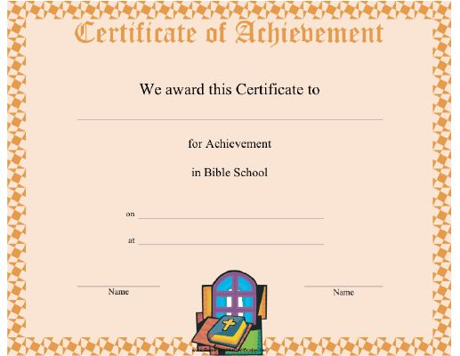 This Bible School Completion certificate features a Bible ...
