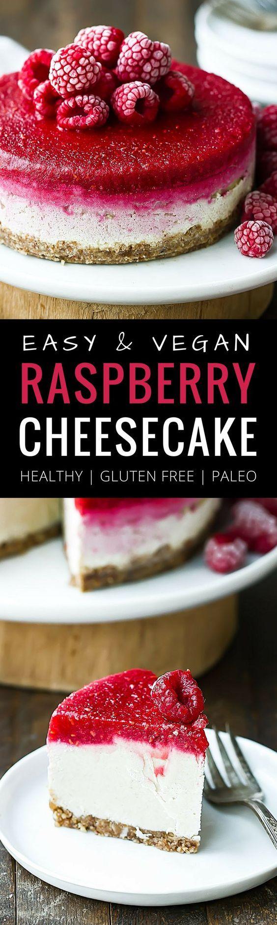 Easy Vegan Raspberry Cheesecake. Raw cheesecake recipe. No bake cashew cheesecake. Best gluten free vegan cheesecake