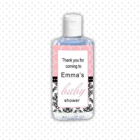 Personalized Printable Damask Baby Shower Hand Sanitizer Labels - Stroller Pink Baby Shower Favors Party Favors Girl Baby Shower Decorations