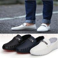 Wish | Hot Men's Driving Casual Boat Shoes Leather Shoes Moccasin Slip On Loafers White