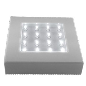 A square light base for uplighting floral centerpieces, glass, crystal, ice sculptures and much more. This LED lighting unit measures 5 inches by 5 inches and features 16 super bright LED lights. It has picture frame hanging holes on the back for wall mounting. Batteries will last well beyond the end of your event, or for a more permanent display, use a plug in power adapter (sold separately). 5 in. long x 5 in. wide x 1.25 in. high On/off button on side turns on all 16 LED lights at one…