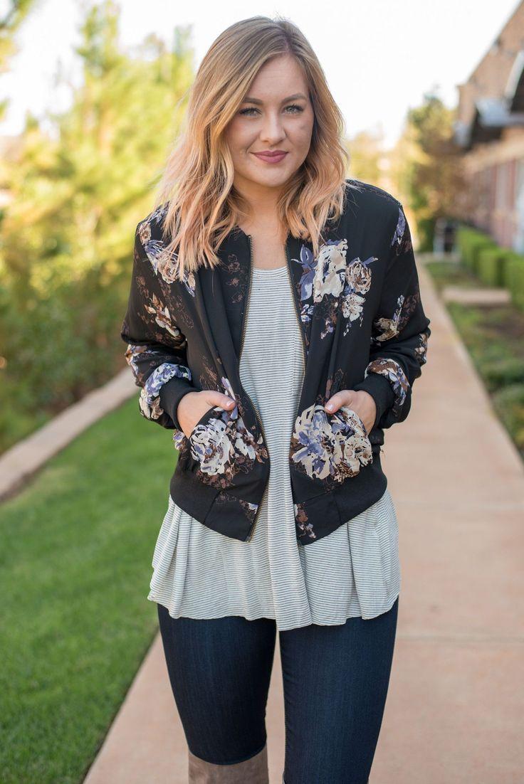 Floral print bomber jacket black from Lush Fashion Lounge