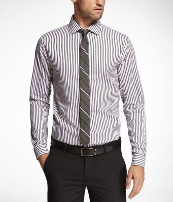 Striped Fitted Cutaway Collar French Cuff Shirt At Express