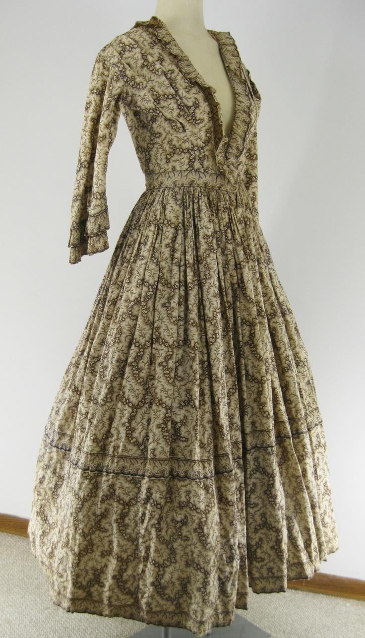 Authentic Civil War 1860s Vintage Cotton Print Victorian Day Dress Ivory Brown   eBay