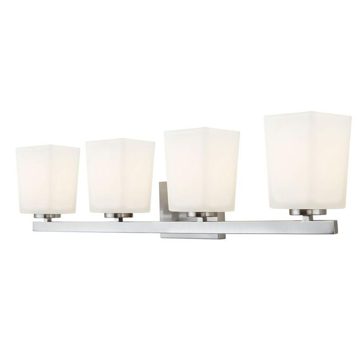 CANARM Hartley 4-Light Brushed Nickel Vanity Light with Flat Opal Glass-IVL472A04BN - The Home Depot