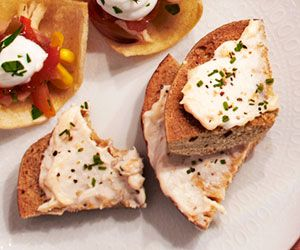 Multigrain Bagel Chips with Smoked Salmon Mousse  Homemade bagel chips complement this tangy salmon dip.