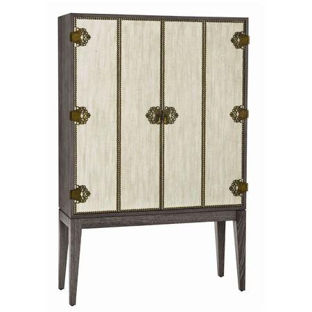 Chelsey Gray Oak Wine Bar Cabinet